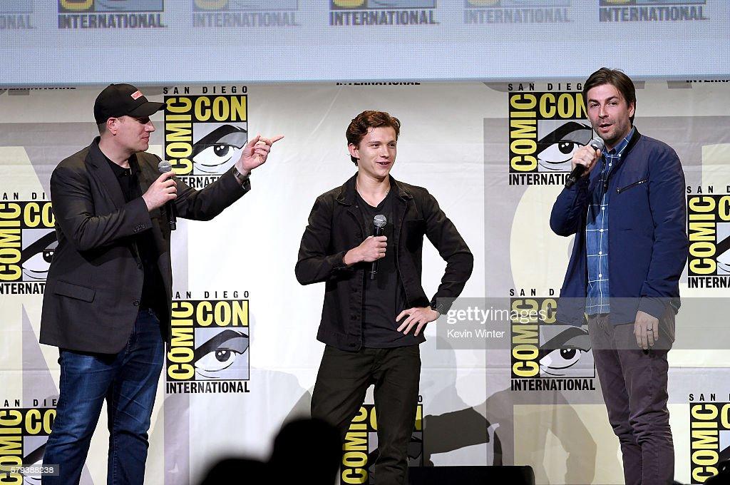 Marvel Studios President Kevin Feige actor Tom Holland and director Jon Watts attend the Marvel Studios presentation during ComicCon International...