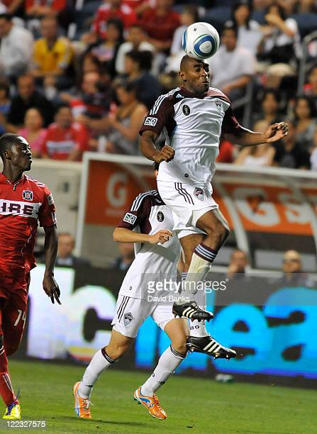 Marvell Wynne of the Colorado Rapids and Patrick Nyarko of the Chicago Fire fight for the ball in an MLS match on August 27 2011 at Toyota Park in...
