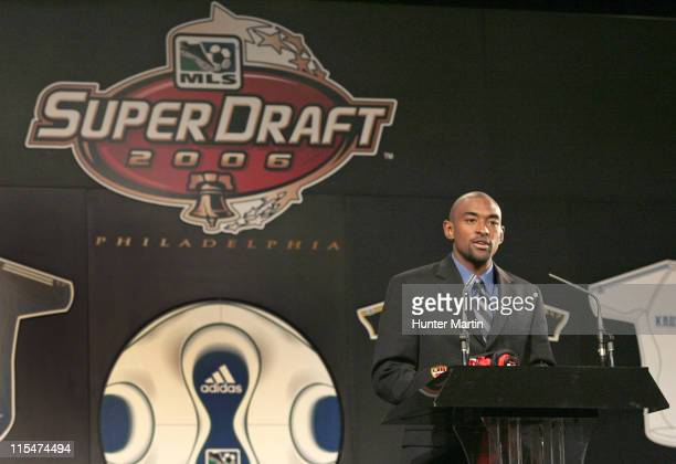 Marvell Wynne says a few words after being selected as the first overall pick by the MetroStars at the MLS Super Draft 2006 Pennsylvania Convention...