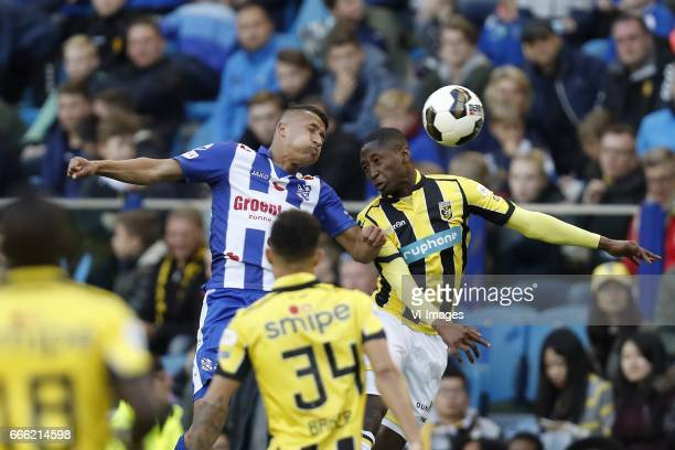 Marvelous Nakamba of Vitesse Lucas Bijker of sc Heerenveen Lewis Baker of Vitesse Kelvin Leerdam of Vitesseduring the Dutch Eredivisie match between...