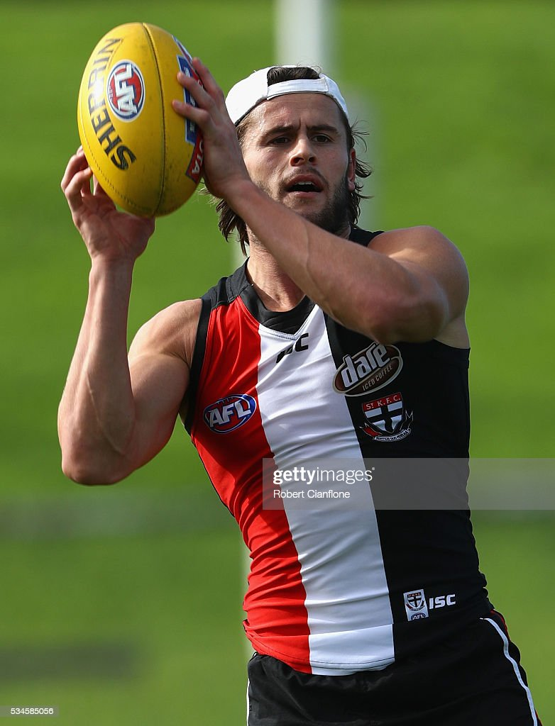 Marverick Weller of the Saints controls the ball during a St Kilda Saints AFL training session at Moorabbin Oval on May 27, 2016 in Melbourne, Australia.