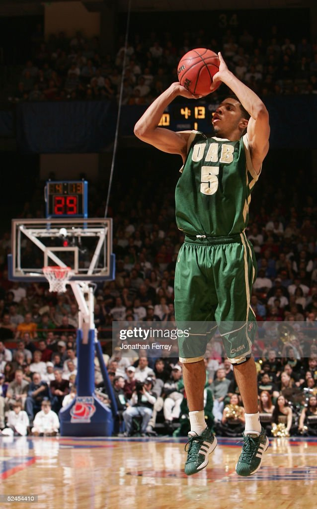 Marvett McDonald of the University of Alabama at Birmingham Blazers attempts a three point shot against the Arizona Wildcats during the 2005 NCAA...