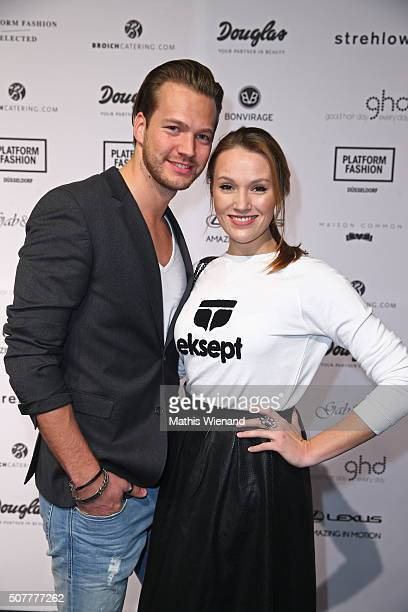 Marvin Albrecht and Anna Hofbauer attend the Platform Fashion Selected show during Platform Fashion January 2016 at Areal Boehler on January 31 2016...