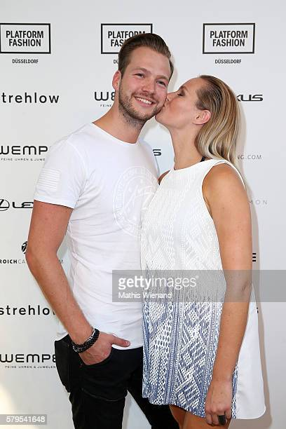 Marvin Albrecht and Anna Hofbauer attend the Platform Fashion Selected show during Platform Fashion July 2016 at Areal Boehler on July 24 2016 in...