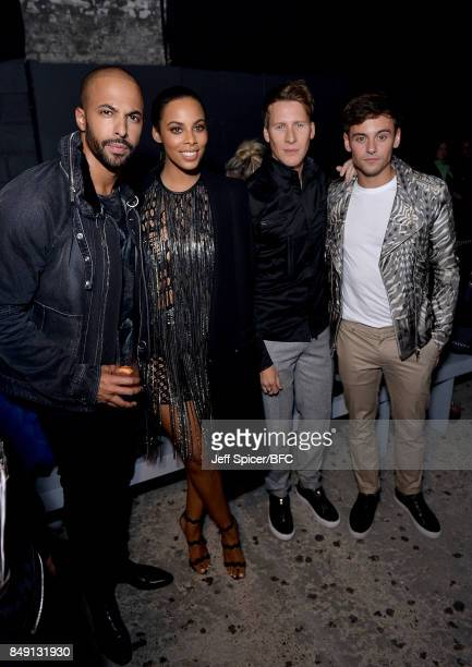 Marvin and Rochelle Humes with Dustin Lance Black and Tom Daley attending the Julien Macdonald show during London Fashion Week September 2017 on...