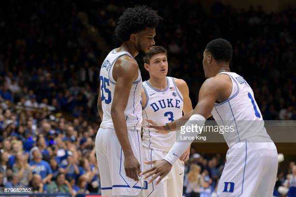 Marvin Bagley III Grayson Allen and Trevon Duval of the Duke Blue Devils huddle during their game against the Southern Jaguars at Cameron Indoor...