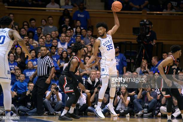 Marvin Bagley III of the Duke Blue Devils controls the ball against Keith Braxton of the St Francis Red Flash at Cameron Indoor Stadium on December 5...