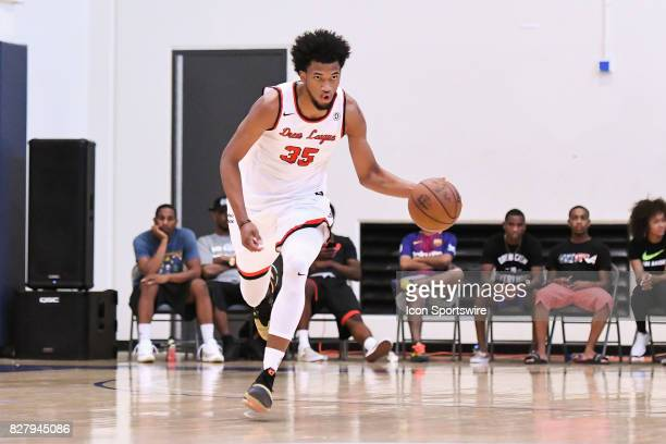 Marvin Bagley Jr the top high school recruit in the class of 2018 brings the ball up the court during a Drew League game at Los Angeles Southwest...
