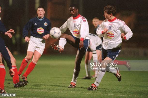 Marvin Brown England shows skill to control the ball