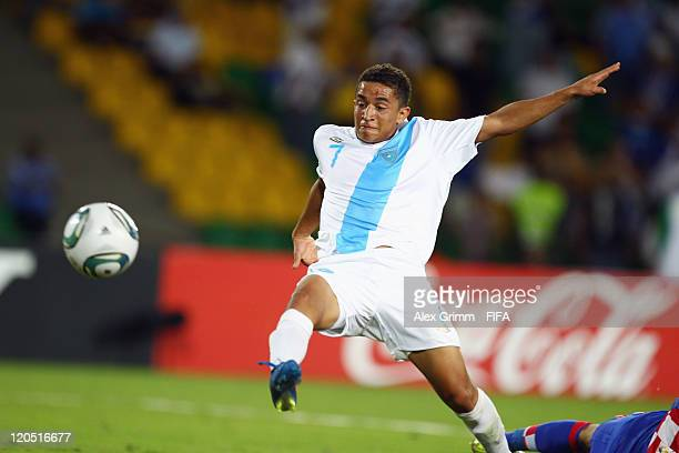 Marvin Ceballos of Guatemala scores his team's first goal during the FIFA U20 World Cup 2011 Group D match between Croatia and Guatemala at Estadio...