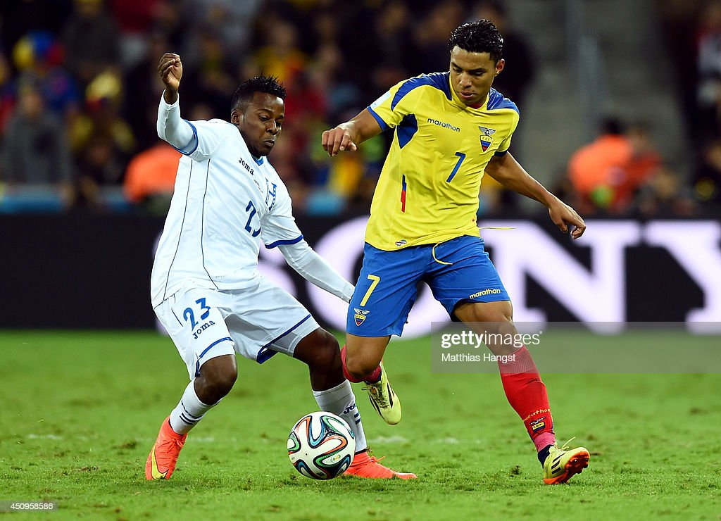 Marvin Chavez of Honduras and Jefferson Montero of Ecuador compete for the ball during the 2014 FIFA World Cup Brazil Group E match between Honduras and Ecuador at Arena da Baixada on June 20, 2014 in Curitiba, Brazil.