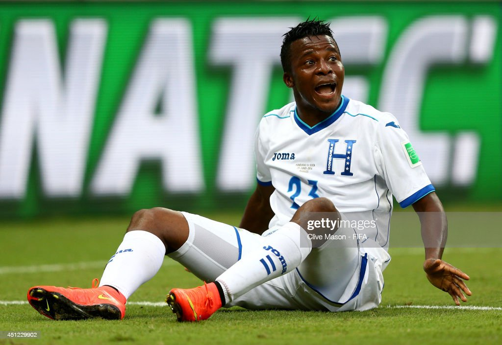 <a gi-track='captionPersonalityLinkClicked' href=/galleries/search?phrase=Marvin+Chavez&family=editorial&specificpeople=5546152 ng-click='$event.stopPropagation()'>Marvin Chavez</a> of Honduras reacts during the 2014 FIFA World Cup Brazil Group E match between Honduras and Switzerland at Arena Amazonia on June 25, 2014 in Manaus, Brazil.