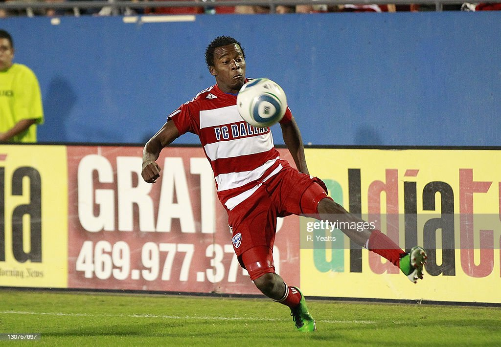 Marvin Chavez #18 of the FC Dallas defends the ball against New York Red Bulls during the wild card match at Pizza Hut Park on October 26, 2011 in Frisco, Texas.