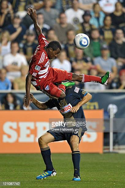 Marvin Chavez of the FC Dallas goes over the top of Gabriel Farfan of the Philadelphia Union at PPL Park on August 13 2011 in Chester Pennsylvania