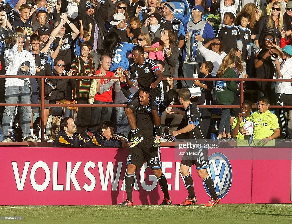 Marvin Chavez #81 of the San Jose Earthquakes is lifted by teammates after scoring a goal during the MLS match against the Los Angeles Galaxy at Buck Shaw Stadium on October 21, 2012 in Santa Clara, California. The match ended in a 2-2 draw.