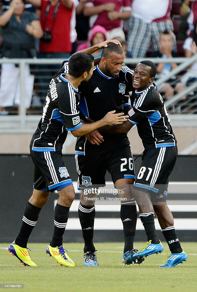 Marvin Chavez #81, Victor Bernardez #26 and Steven Beitashour #33 celebrates after Bernardez scored a goal in the first half against the Los Angeles Galaxy at Stanford Stadium on June 30, 2012 in Palo Alto, California. The Earthquakes won the game 4-3.