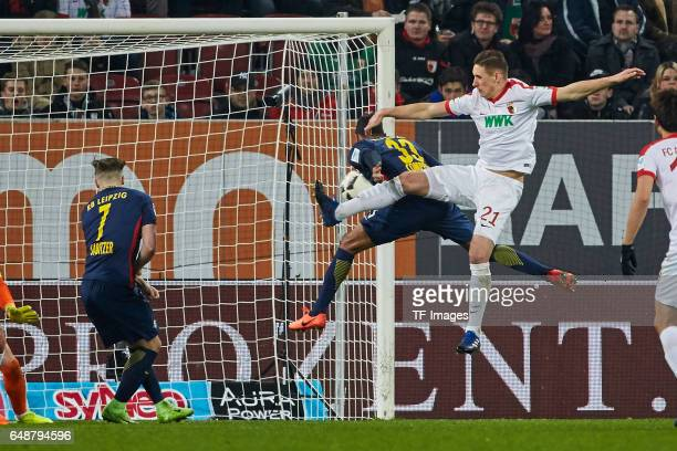 Marvin Compper of Leipzig scores a goal during the Bundesliga match between FC Augsburg and RB Leipzig at WWK Arena on March 3 2017 in Augsburg...