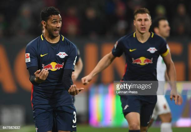 Marvin Compper of RB Leipzig celebrates his side's second goal during the Bundesliga match between FC Augsburg and RB Leipzig at WWK Arena on March 3...