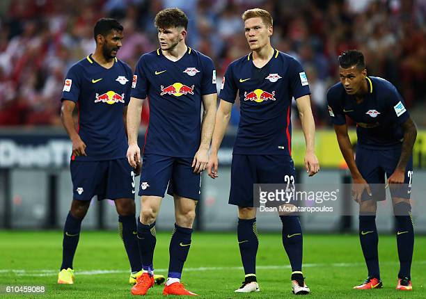 Marvin Compper Oliver Burke Marcel Halstenberg and Davie Selke of RB Leipzig wait for the corner during the Bundesliga match between 1 FC Koeln and...