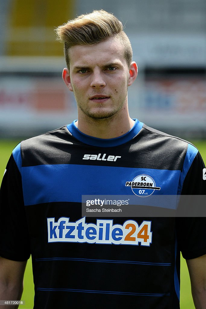 Marvin Duksch poses during SC Paderborn 07 team presentation at Benteler-Arena on July 4, 2014 in Paderborn, Germany.