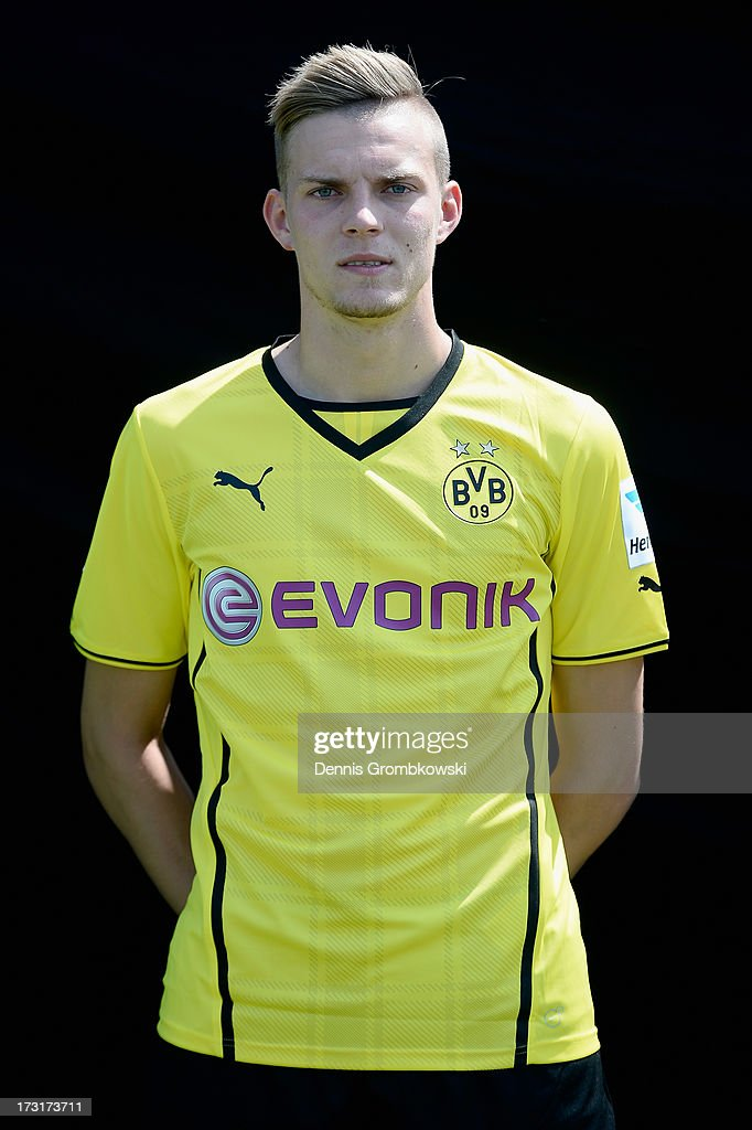Marvin Duksch poses during the Borussia Dortmund Team Presentation at Brackel Training Ground on July 9, 2013 in Dortmund, Germany.
