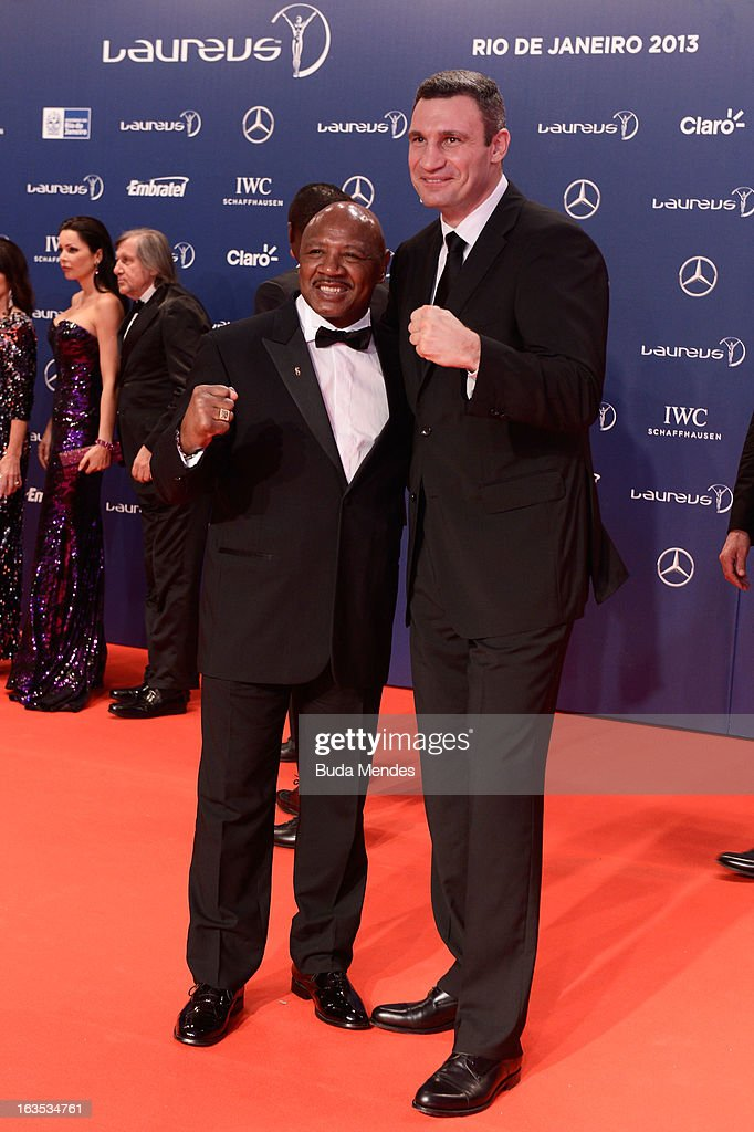 Marvin Hagler and Vladimir Klitschko attends the 2013 Laureus World Sports Awards at the Theatro Municipal Do Rio de Janeiro on March 11, 2013 in Rio de Janeiro, Brazil.