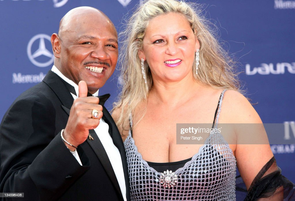 Marvin Hagler and Wife during 2006 Laureus World Sports Awards - Red Carpet Arrivals in Barcelona, Spain.