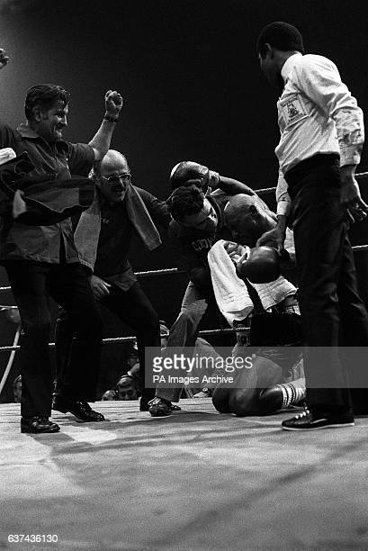 Marvin Hagler collapses to his knees after beating Alan Minter to win the World Middleweight Championship