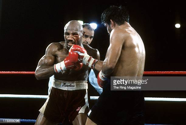 Marvin Hagler is hit with a punch from Roberto Duran during the fight at Caesars Palace IN Las Vegas Nevada Marvin Hagler won the WBC middleweight...