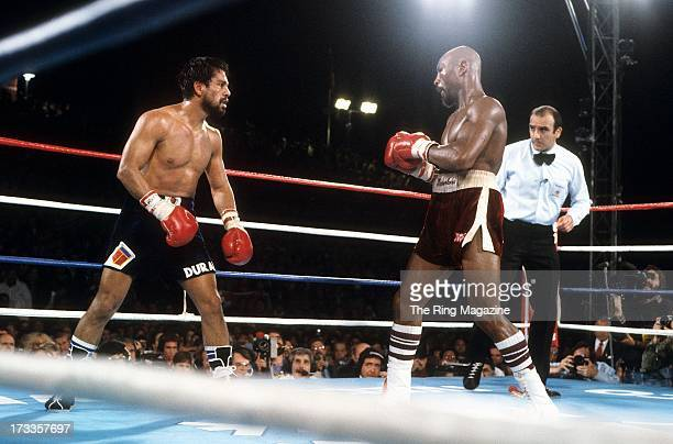 Marvin Hagler looks to land a punch against Roberto Duran during the fight at Caesars Palace IN Las Vegas Nevada Marvin Hagler won the WBC...
