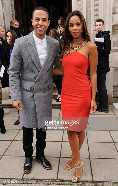 Marvin Humes and Rochelle Humes arrive at the Julien Macdonald show during London Fashion Week Fall/Winter 2015/16 at British Foreign and...