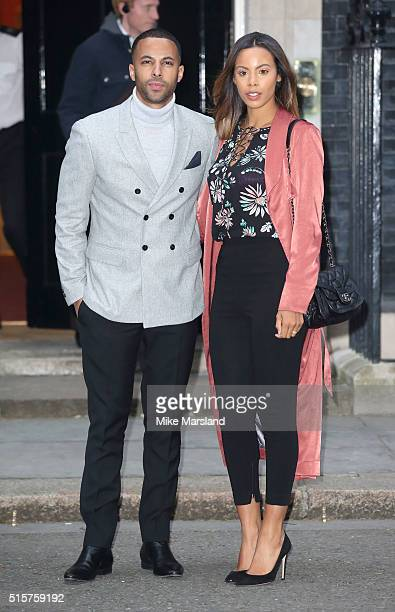Marvin Humes and Rochelle Humes attend a reception for Sports Relief hosted by David Cameron at 10 Downing Street on March 15 2016 in London England