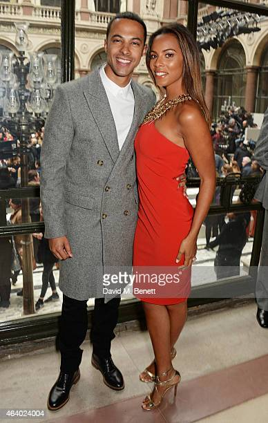 Marvin Humes and Rochelle Humes attend the Julien Macdonald show during London Fashion Week Fall/Winter 2015/16 at British Foreign and Commonwealth...