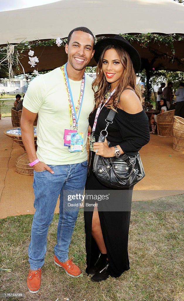 <a gi-track='captionPersonalityLinkClicked' href=/galleries/search?phrase=Marvin+Humes&family=editorial&specificpeople=2887070 ng-click='$event.stopPropagation()'>Marvin Humes</a> (L) and Rochelle Humes attend the Mahiki Coconut Backstage Bar during day 2 of V Festival 2013 at Hylands Park on August 18, 2013 in Chelmsford, England.