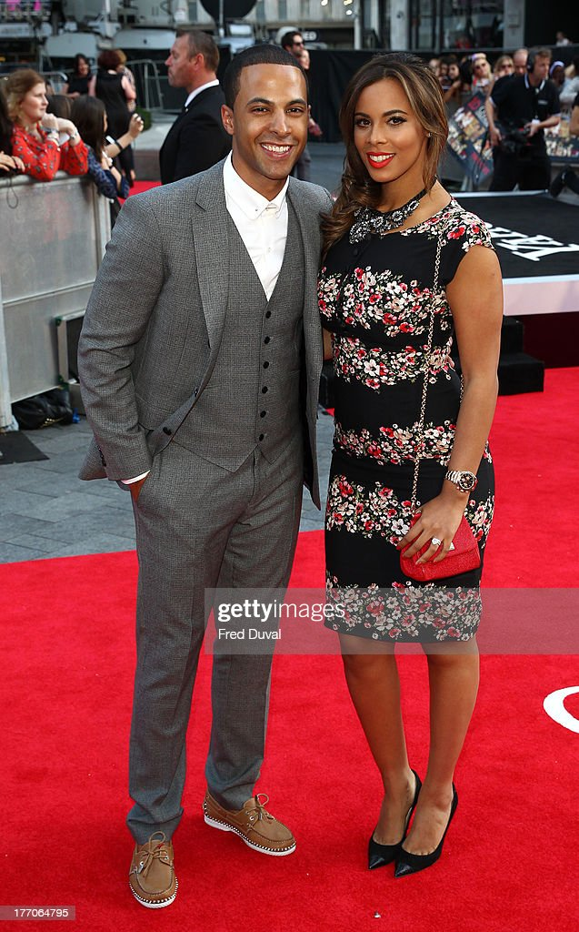 <a gi-track='captionPersonalityLinkClicked' href=/galleries/search?phrase=Marvin+Humes&family=editorial&specificpeople=2887070 ng-click='$event.stopPropagation()'>Marvin Humes</a> and Rochelle Humes attends the World Premiere of 'One Direction: This Is Us' at Empire Leicester Square on August 20, 2013 in London, England.