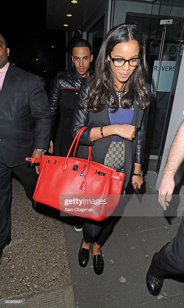 Marvin Humes and Rochelle Wiseman sighting at Riverside Studios on February 27, 2013 in London, England.
