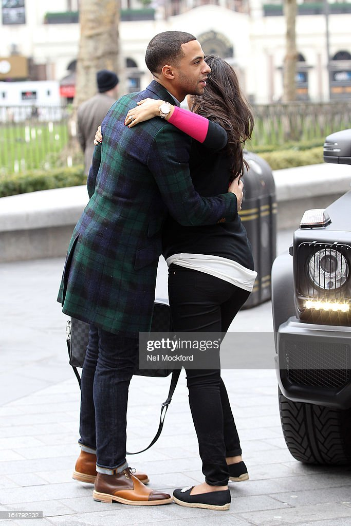 <a gi-track='captionPersonalityLinkClicked' href=/galleries/search?phrase=Marvin+Humes&family=editorial&specificpeople=2887070 ng-click='$event.stopPropagation()'>Marvin Humes</a> arrives for his 1st Day at work at Capital FM dropped off by his wife Rochelle Humes on March 28, 2013 in London, England.