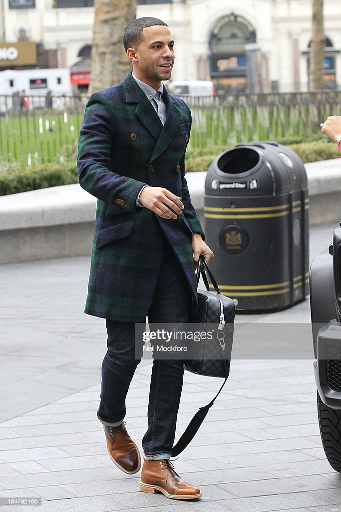 <a gi-track='captionPersonalityLinkClicked' href=/galleries/search?phrase=Marvin+Humes&family=editorial&specificpeople=2887070 ng-click='$event.stopPropagation()'>Marvin Humes</a> arrives for his 1st Day at work at Capital FM on March 28, 2013 in London, England.