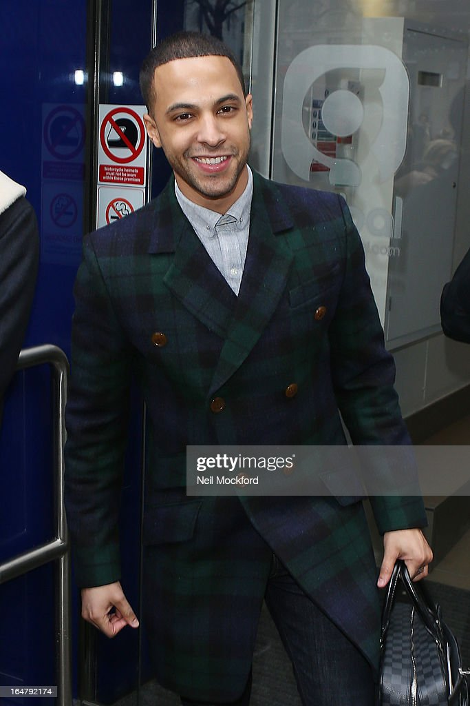 Marvin Humes arrives for his 1st Day at work at Capital FM on March 28, 2013 in London, England.