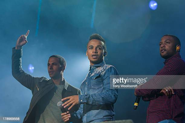 Marvin Humes Aston Merrygold and JB Gill of JLS perform at the Fusion Festival at Cofton Park on August 31 2013 in Birmingham England