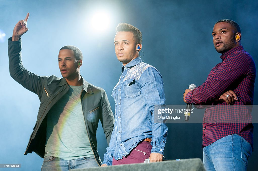 Marvin Humes, <a gi-track='captionPersonalityLinkClicked' href=/galleries/search?phrase=Aston+Merrygold&family=editorial&specificpeople=5739699 ng-click='$event.stopPropagation()'>Aston Merrygold</a> and JB Gill of JLS perform on stage on Day 1 of Fusion Festival 2013 at Cofton Park on August 31, 2013 in Birmingham, England.