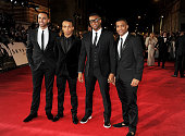 Marvin Humes Aston Merrygold Oritse Williams and Jonathan JB Gill of JLS attend the Royal World Premiere of 'Skyfall' at the Royal Albert Hall on...