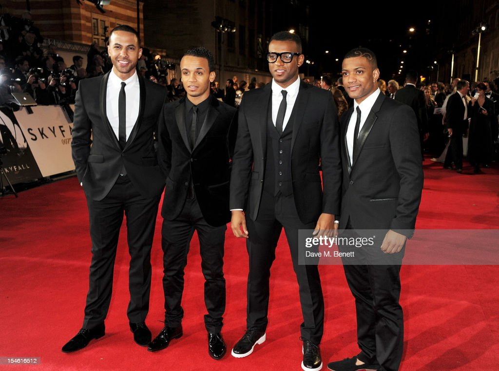 <a gi-track='captionPersonalityLinkClicked' href=/galleries/search?phrase=Marvin+Humes&family=editorial&specificpeople=2887070 ng-click='$event.stopPropagation()'>Marvin Humes</a>, <a gi-track='captionPersonalityLinkClicked' href=/galleries/search?phrase=Aston+Merrygold&family=editorial&specificpeople=5739699 ng-click='$event.stopPropagation()'>Aston Merrygold</a>, <a gi-track='captionPersonalityLinkClicked' href=/galleries/search?phrase=Oritse+Williams&family=editorial&specificpeople=5739700 ng-click='$event.stopPropagation()'>Oritse Williams</a> and Jonathan JB Gill of JLS attend the Royal World Premiere of 'Skyfall' at the Royal Albert Hall on October 23, 2012 in London, England.
