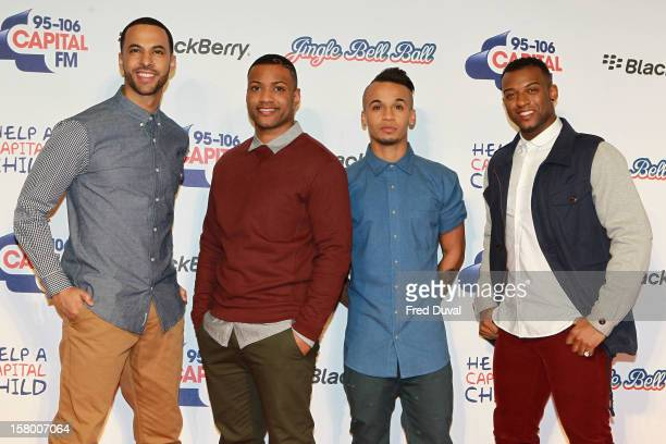 Marvin Humes JB Gill Aston Merrygold and Oritse Williams of JLS attend the Capital FM Jingle Bell Ball at 02 Arena on December 8 2012 in London...
