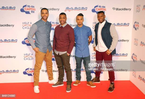Marvin Humes JB Gill Aston Merrygold and Ortise Williams of JLS backstage at the Jingle Bell Ball presented by Capital FM at the O2 Arena London