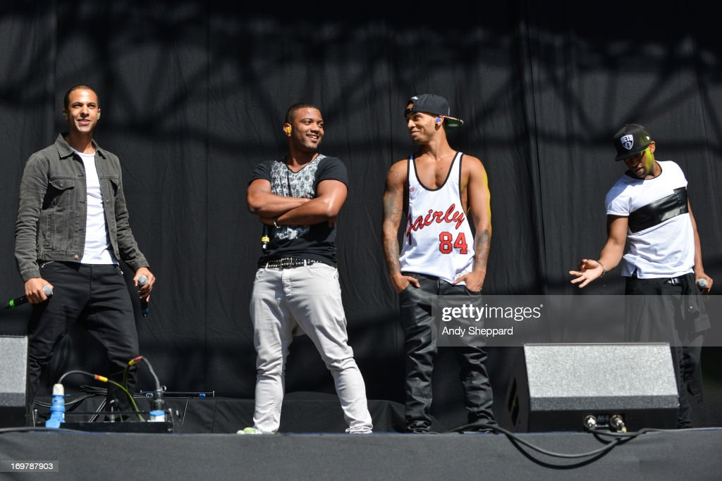 <a gi-track='captionPersonalityLinkClicked' href=/galleries/search?phrase=Marvin+Humes&family=editorial&specificpeople=2887070 ng-click='$event.stopPropagation()'>Marvin Humes</a>, JB Gill, <a gi-track='captionPersonalityLinkClicked' href=/galleries/search?phrase=Aston+Merrygold&family=editorial&specificpeople=5739699 ng-click='$event.stopPropagation()'>Aston Merrygold</a> and Ortise Williams of the band JLS perform on stage at Allstarz Summer Party 2013 at Madejski Stadium on June 1, 2013 in Reading, England.