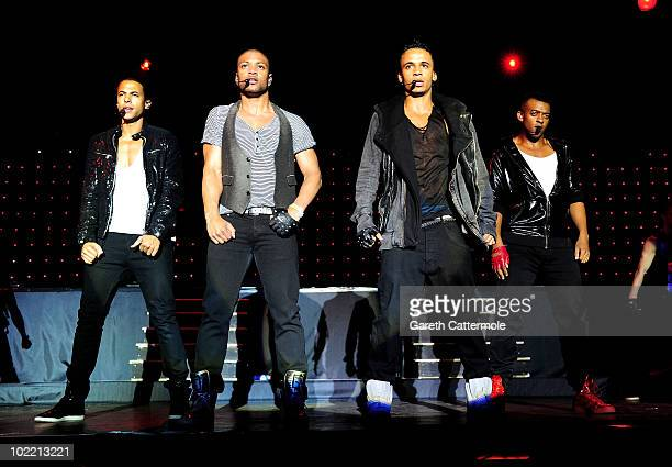 Marvin Humes Jonathan JB Gill Aston Merrygold and Oritse Williams of JLS perform at the Isle Of Man Bay Festival on June 18 2010 in Douglas Isle Of...