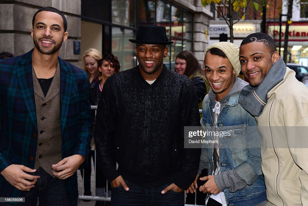<a gi-track='captionPersonalityLinkClicked' href=/galleries/search?phrase=Marvin+Humes&family=editorial&specificpeople=2887070 ng-click='$event.stopPropagation()'>Marvin Humes</a>, Jonathan 'JB' Gills, Oritse Williams and Aston Merrygold of JLS visit BBC Radio Two on December 12, 2012 in London, England.