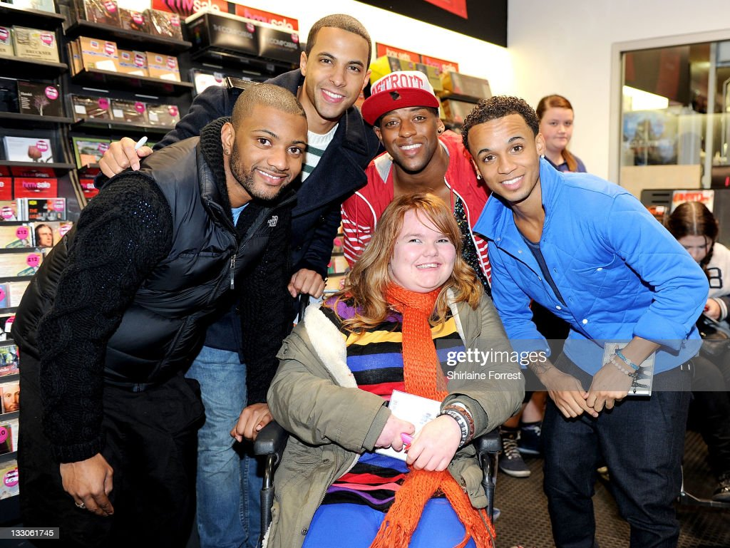 JB, <a gi-track='captionPersonalityLinkClicked' href=/galleries/search?phrase=Marvin+Humes&family=editorial&specificpeople=2887070 ng-click='$event.stopPropagation()'>Marvin Humes</a>, <a gi-track='captionPersonalityLinkClicked' href=/galleries/search?phrase=Oritse+Williams&family=editorial&specificpeople=5739700 ng-click='$event.stopPropagation()'>Oritse Williams</a> and <a gi-track='captionPersonalityLinkClicked' href=/galleries/search?phrase=Aston+Merrygold&family=editorial&specificpeople=5739699 ng-click='$event.stopPropagation()'>Aston Merrygold</a> of JLS meet fans and sign copies of their new album 'Jukebox' at HMV on November 16, 2011 in Manchester, England.