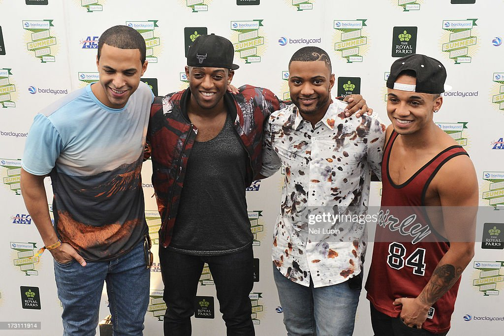 Marvin Humes, Oritse Williams, JB Gill and Aston Merrygold pose backstage before their headline performance at day 3 of British Summer Time Hyde Park presented by Barclaycard at Hyde Park on July 7, 2013 in London, England.